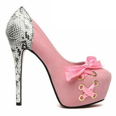 Zapatos Pumps con lazo rosa