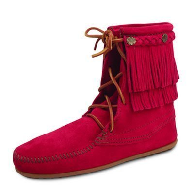 Botín Cherry Red de Minnetonka Moccasines