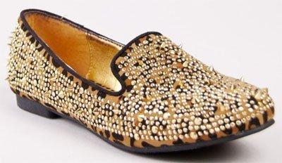 Loafers de animal print con aplique de tachas y puas Allure Posh